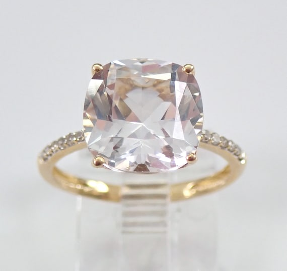 14K Yellow Gold 3.65 ct Diamond and Cushion Cut White Topaz Engagement Ring Size 6