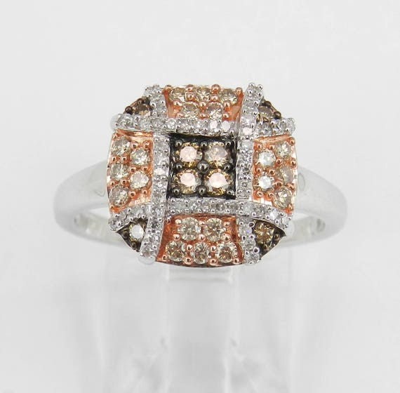 SALE PRICE! White and Cognac Diamond Ring, Rose and White Gold Right Hand Ring, Diamond Cluster Ring, Size 7 FREE Sizing