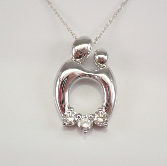 """Mother and Child Diamond Pendant Three Stone Necklace 14K White Gold 18"""" Chain"""