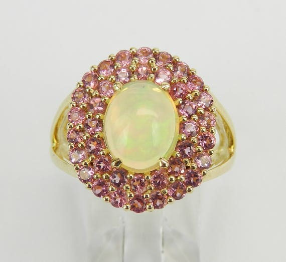Pink Tourmaline Ring, Opal Engagement Ring, Yellow Gold Double Halo Ring, Opal Engagement Ring, October Gemstone Ring