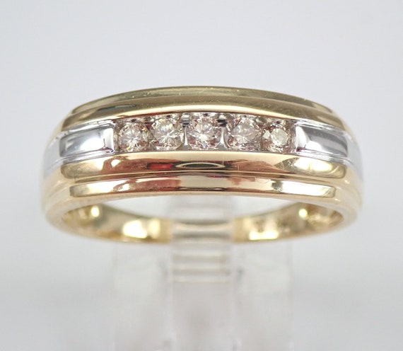 Men's Diamond Wedding Ring Anniversary Band White and Yellow Gold Size 10