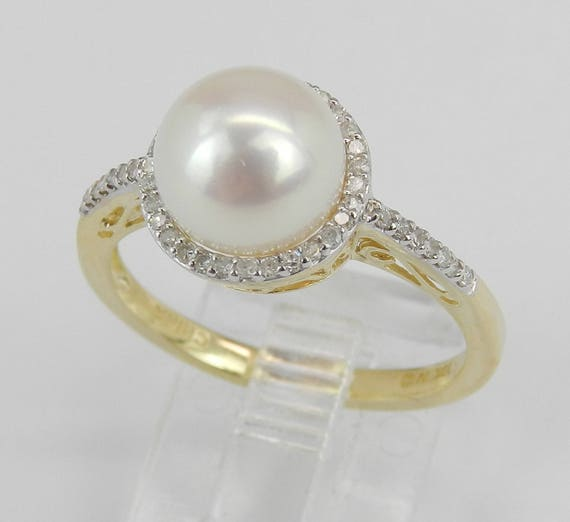 Pearl and Diamond Ring, Halo Engagement Ring, Yellow Gold Ring, Pearl Engagement Ring, June Birthstone Ring, Pearl Ring