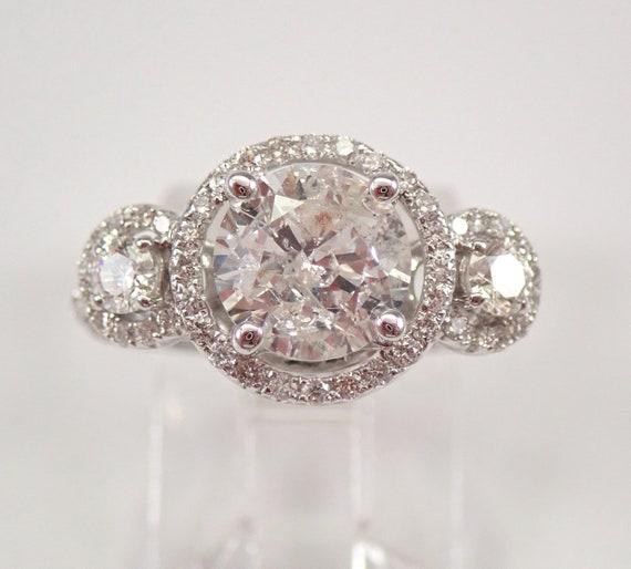 14K White Gold 2.66 ct Three Stone Halo Diamond Engagement Ring Size 4.5