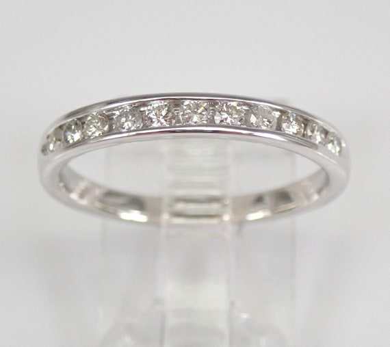 14K White Gold Diamond Wedding Ring Anniversary Band Stackable Size 7 FREE SIZING