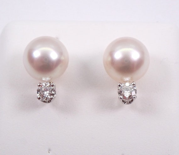 Pearl and Diamond Studs, Pearl Stud Earrings, 14K Yellow Gold Diamond and Pearl Studs, June Birthstone Wedding Studs