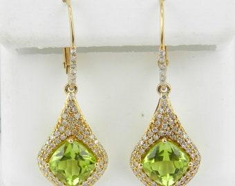 14K Yellow Gold Cushion Cut Peridot and Diamond Earrings August Gemstone Birthstone