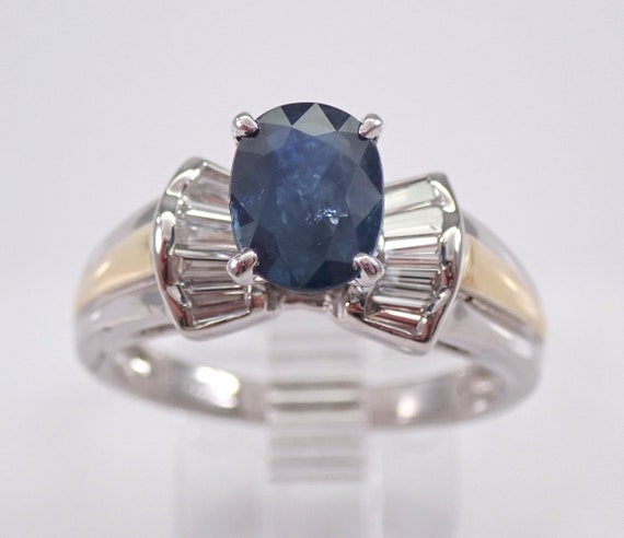 Diamond and Sapphire Engagement Ring Platinum and 18K Yellow Gold Size 7 FREE Sizing