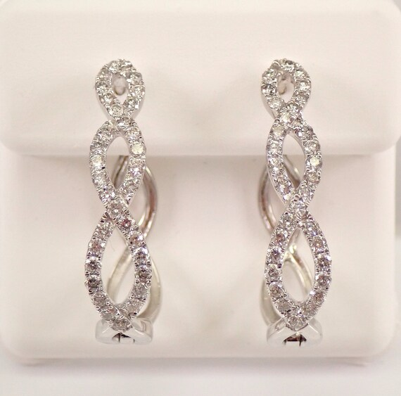 14K White Gold Diamond Hoop Earrings Diamond Hoops Unique Crossover Design