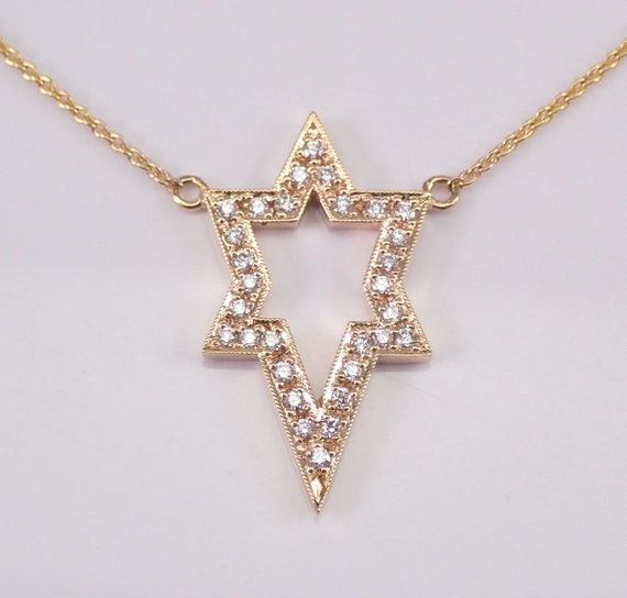 "Diamond Star of David Pendant Necklace 14K Yellow Gold 18.5"" Chain Jewish Religious Charm"