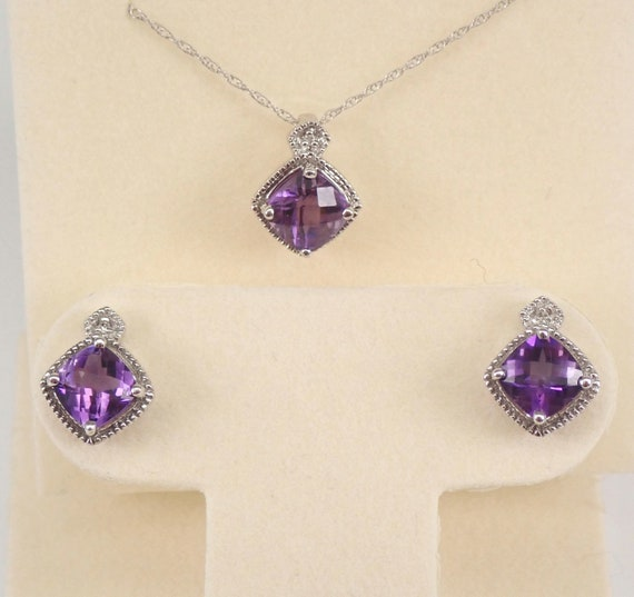 """White Gold Diamond and Amethyst Pendant Necklace Earrings Set 18"""" Chain February Birthstone"""