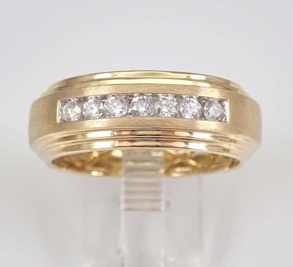 Mens 8 mm Diamond Wedding Ring Anniversary Band Yellow Gold Size 10