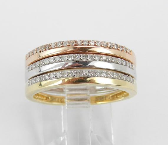 14K White Yellow Rose Gold Diamond Wedding Ring Anniversary Band Stackable Set