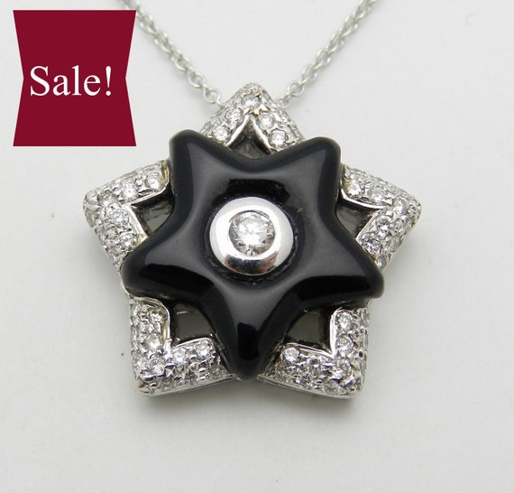 "SUPER SALE!  Diamond and Onyx Black Star Pendant Necklace 18"" Chain 14K White Gold"