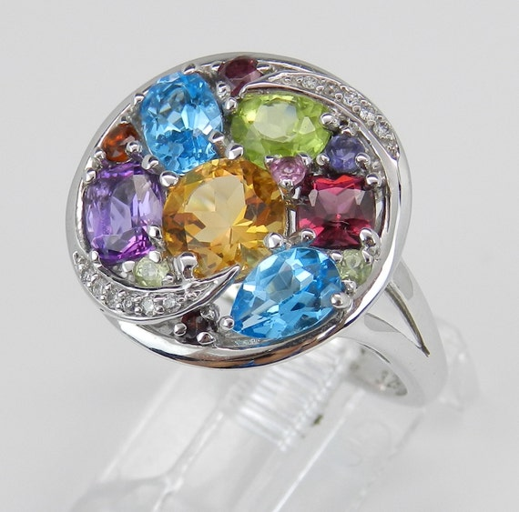Blue Topaz, Amethyst, Garnet, Peridot, Citrine and Diamond Cluster Multi Color Gemstone Ring set in 14K White Gold Size 6.75