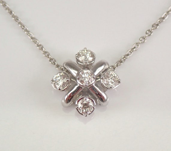 White Gold 1/2 ct Diamond Cluster Pendant Diamond Wedding Necklace Chain 18""