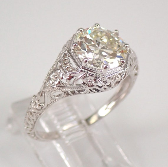 Antique Art Deco 14K White Gold 1.70 ct Old Miner Solitaire Diamond Engagement Ring Size 6.5