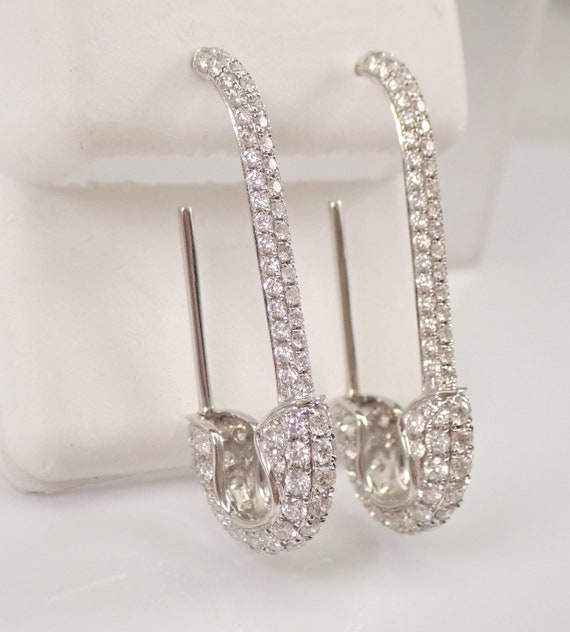 18K White Gold 2.64 ct Diamond SAFETY PIN Hoop Style Earrings Unique Good Luck