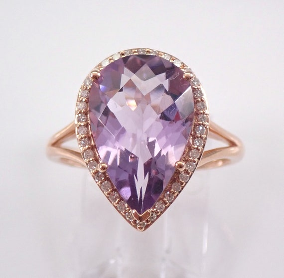 6.20 ct Diamond and Pear Amethyst Halo Engagement Ring Rose Gold Size 7 February Birthstone FREE Sizing