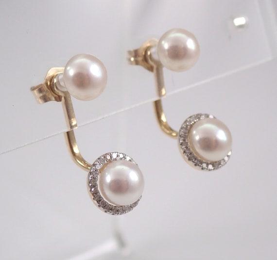 Pearl and Diamond Halo Dangle Drop Earrings 14K Yellow Gold Stud Jacket Earrings 2 Pairs in One