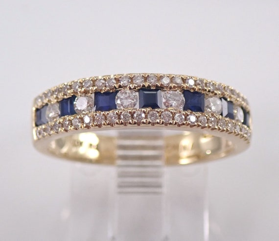 Yellow Gold Sapphire and Diamond Wedding Ring Anniversary Band Size 6.75 September Birthstone FREE Sizing