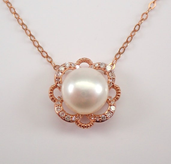 "Rose Gold Diamond and Pearl Halo Pendant Necklace with Chain 16"" June Gemstone"