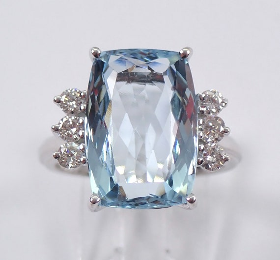 Vintage Estate 14K White Gold 6.45 ct Diamond and Aquamarine Engagement Ring Size 6.25 Cushion Cut
