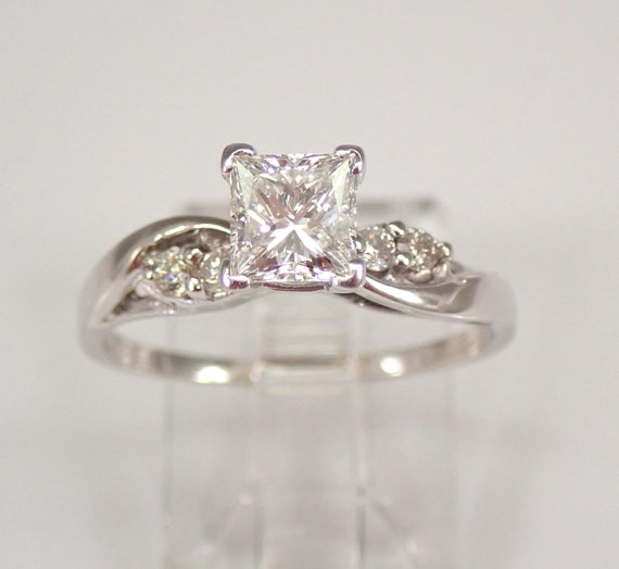 14K White Gold Princess-Cut Diamond Engagement Ring Size 7.25 H VS1