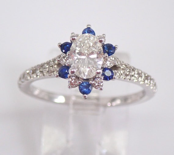 14K White Gold Oval Diamond and Sapphire Halo Engagement Ring Size 7 Something Blue FREE Sizing