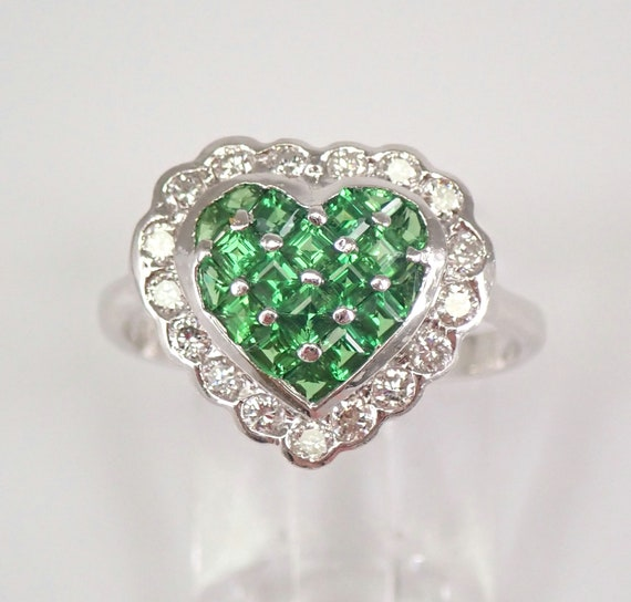 Diamond and Tsavorite Garnet Cluster Heart Ring Halo Engagement Ring 18K White Gold Size 6.25 FREE Sizing