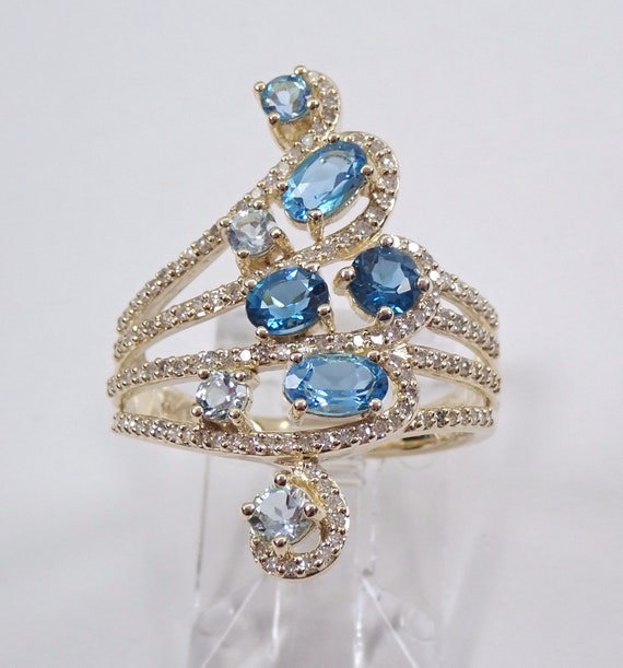 Yellow Gold Multi Row Gemstone Blue Topaz Aquamarine Diamond Ring Size 7 Mothers Ring