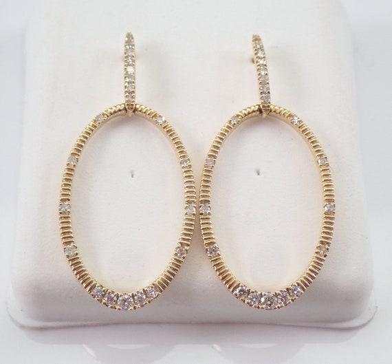 14K Yellow Gold Diamond Dangle Drop Earrings Wedding Gift