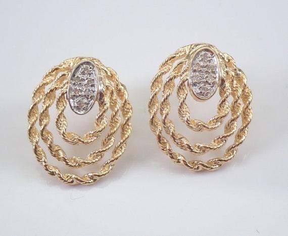 Vintage Estate Antique 14K Yellow Gold Diamond Rope Design Earrings