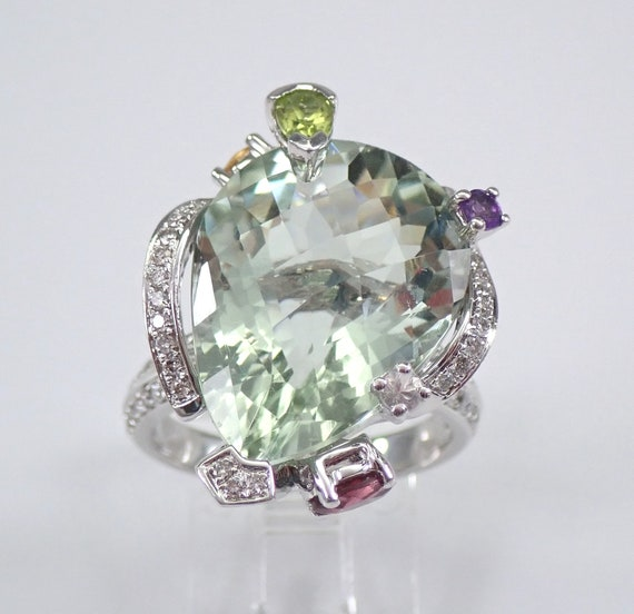 18K White Gold Diamond and Pear Green Amethyst Multi Color Engagement Ring Size 6.5 FREE Sizing