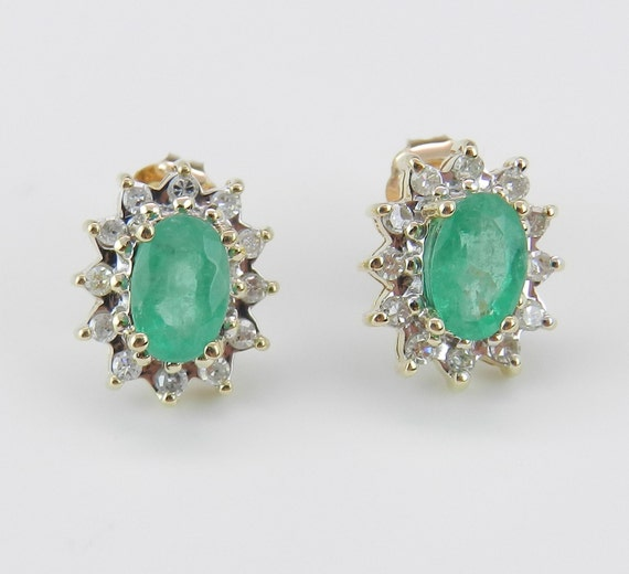 1.75 ct Emerald and Diamond Stud Earrings Halo Studs Yellow Gold Green