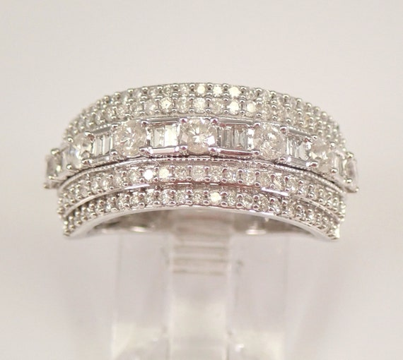 White Gold 1.00 ct Diamond Wedding Ring Anniversary Band Size 7 Round Baguette FREE Sizing
