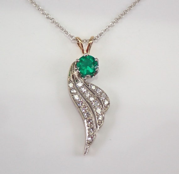 "Antique 14K White Gold Emerald Diamond ANGEL WING Pendant Necklace 18"" Chain"