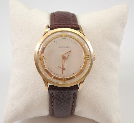 Vintage Antique Yellow Gold Filled WITTNAUER Watch RARE Triangle Hands Brown Leather Band