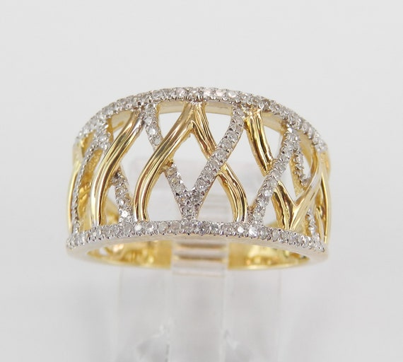 Wide Diamond Cocktail Ring Anniversary Band Yellow Gold Wedding Ring Size 7