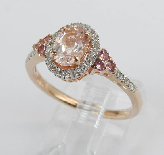 Morganite Pink Sapphire and Diamond Halo Engagement Ring Rose Gold Size 7.25