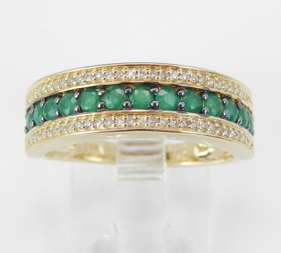 Diamond and Emerald Ring, Emerald Anniversary Band, Emerald Wedding Ring, 14K Yellow Gold Stackable Ring, Size 6, May Birthstone