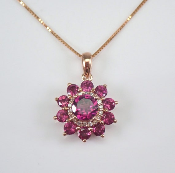 "Rhodolite Garnet and Diamond Cluster Flower Pendant Necklace 18"" Chain Rose Gold January Gemstone"