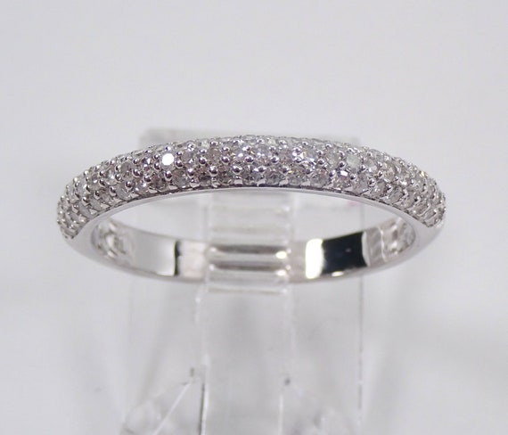 14K White Gold Pave Set Diamond Wedding Ring Anniversary Band Stackable Size 7