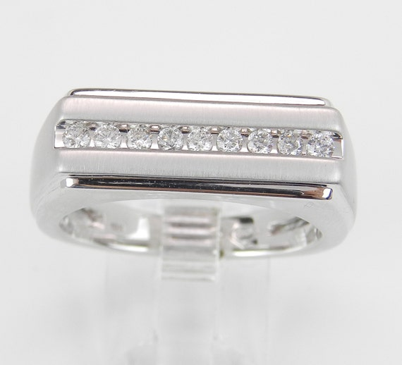 Mens White Gold Diamond Wedding Ring Anniversary Band Size 10.25 Free Sizing