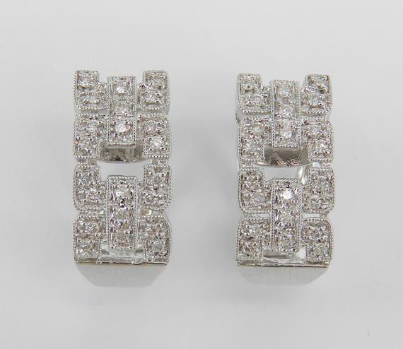 18K White Gold Diamond Earrings Half Hoop Wide Link Cluster Design Euro Clasp