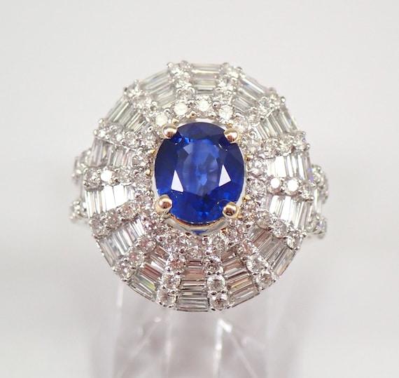 18K White Gold 4.40 ct Diamond and Sapphire Halo Engagement Ring Size 7 September Gemstone Something Blue FREE Sizing