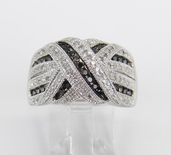 White Gold Black Diamond Wedding Ring Anniversary Band Size 7 Hugs and Kisses Design