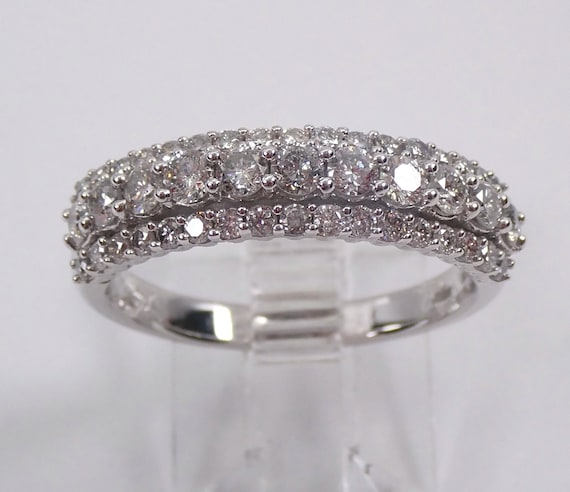 Diamond Wedding Ring Anniversary Band 14K White Gold Unique Stackable Size 7.25