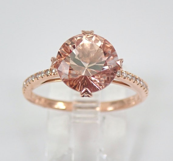 2.75 ct Morganite and Diamond Engagement Ring 14K Rose Gold Size 7 Unique Design FREE Sizing