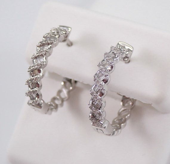 White Gold Round and Baguette Diamond Hoop Earrings Diamond Hoops Secure Clasp