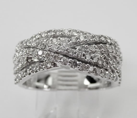 14K White Gold Diamond Crossover Wedding Ring Multi Row Anniversary Band Size 7